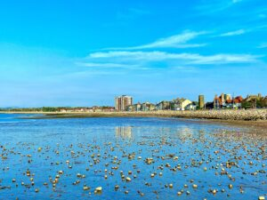 """Entry no. 7 """"Morecambe Blue"""": I took this photo at Morecambe Bay on 21 September 2020, exactly at 17:11. The Bay has helped me a lot in keeping a good mental health during the 1st lockdown. I used to go there for my 1 a day exercise. I run and take photos so I call it a runtography exercise. On the 21st of September I took my 14 yo niece to show her the Bay as she's never seen it before and we were amazed with how blue it was on that day. The photo shows a low tide with little water left behind but enough to reflect the sky's blue colour and give that illusion of floating pebbles."""
